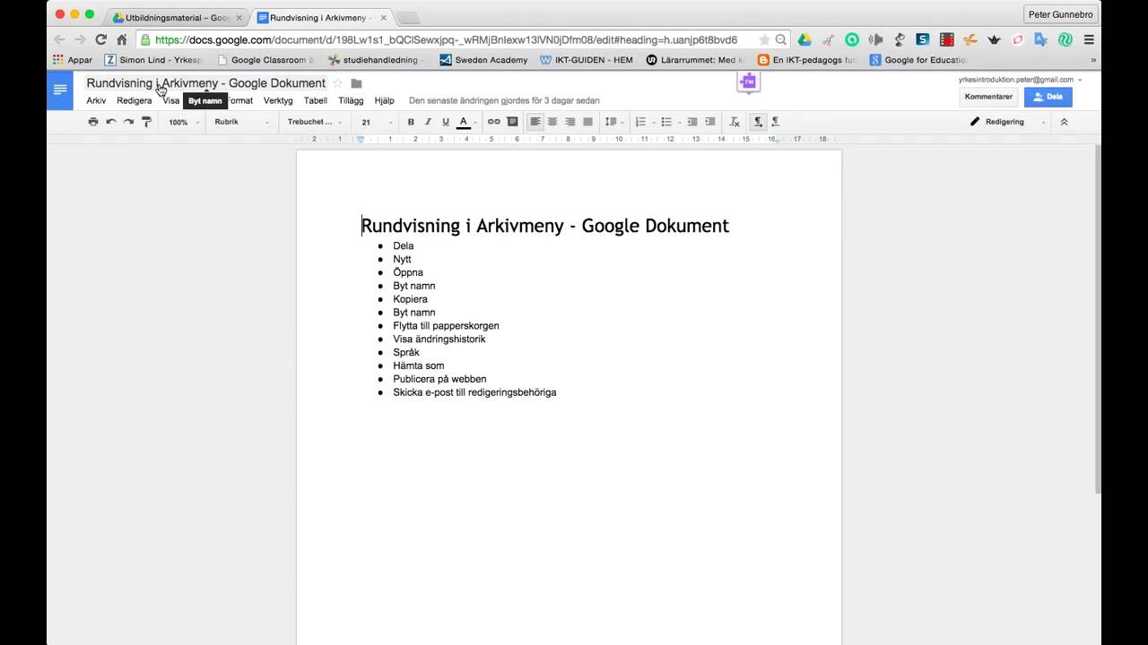 Rundvisning Arkivmenyn Google Dokument YouTube - Google dokument
