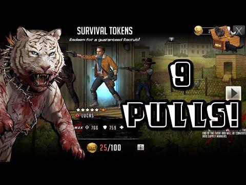 9 Survival Token Pulls!! The Walking Dead: Road to Survival