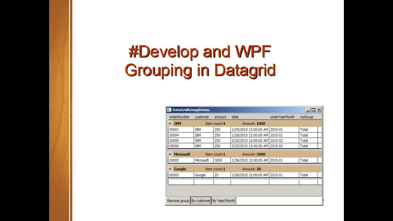 #Develop and WPF, Group a data in the DataGrid