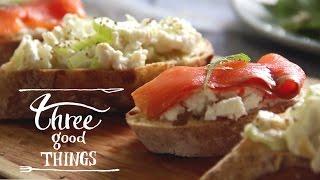 ディナー前のお酒が楽しくなる、爽やかなオープンサンド【セロリ×ゴートチーズ×カシューナッツ】- Three Good Things -
