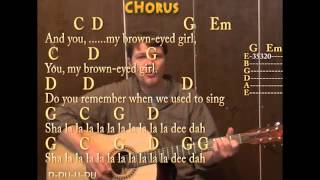 Brown Eyed Girl (Van Morrison) Guitar Cover Lesson Strum Chords Lyrics Chords on Screen