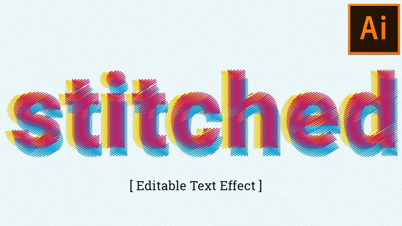 Stitched Type Text Effect in Adobe Illustrator Tutorial