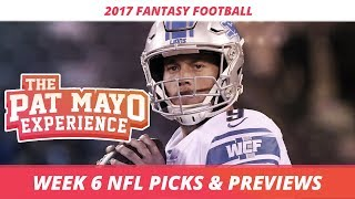2017 fantasy football - week 6 nfl picks, game previews, survivor selections + cust corner mini