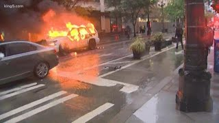 Seattle protest turns violent with looting and fires downtown