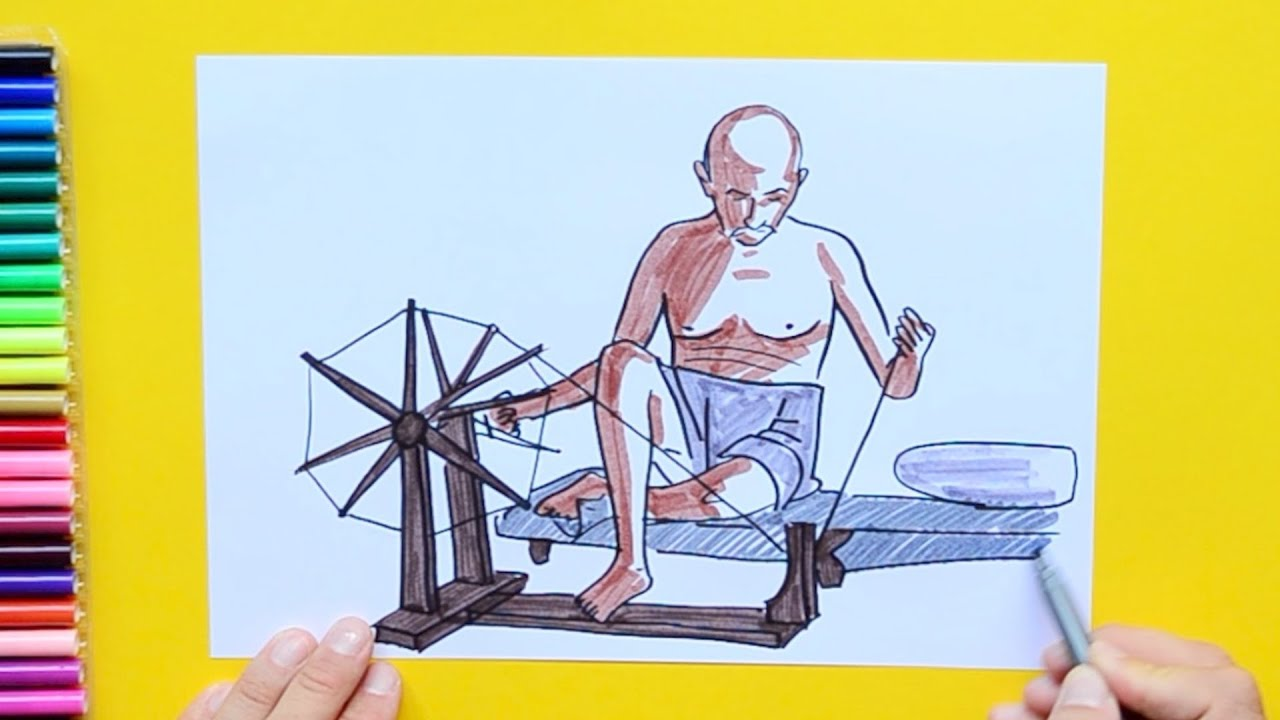 How To Draw Mahatma Gandhi With Charkha Or Spinning Wheel Youtube