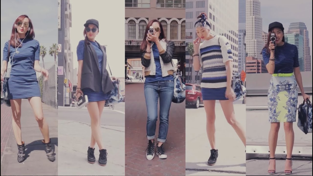 Street Style Fashion 1 Dress 5 Ways Transformations Youtube