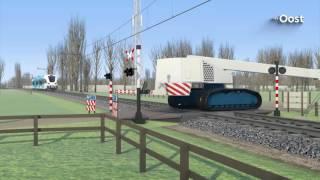 Bestuurder hoogwerker Dalfsen wilde treinmachinist met armgebaren waarschuwen
