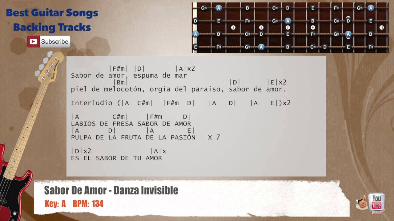 Sabor de amor danza invisible bass backing track with scale chords and lyrics