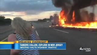 Horrible Explosion of 2 trucks after collision in New Jersey