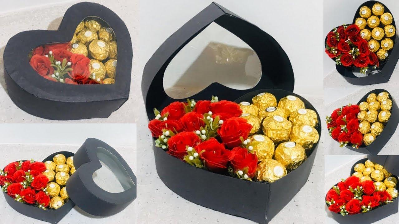 Diy Rose Heart Box With Chocolate Valentine Day Gift Ideas Heart Box Gift Box Ideas Diy Box Youtube