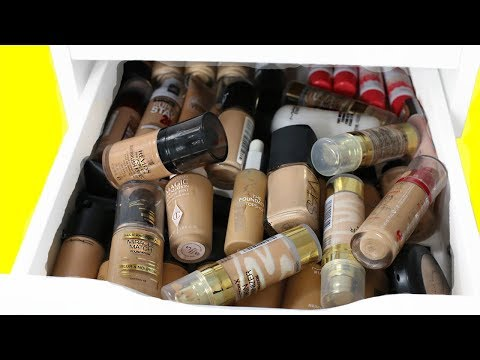 MAKEUP CLEAR OUT! FOUNDATION & PRIMER DRAWERS! MAKEUP DECLUTTER! HOT OR NOT?!