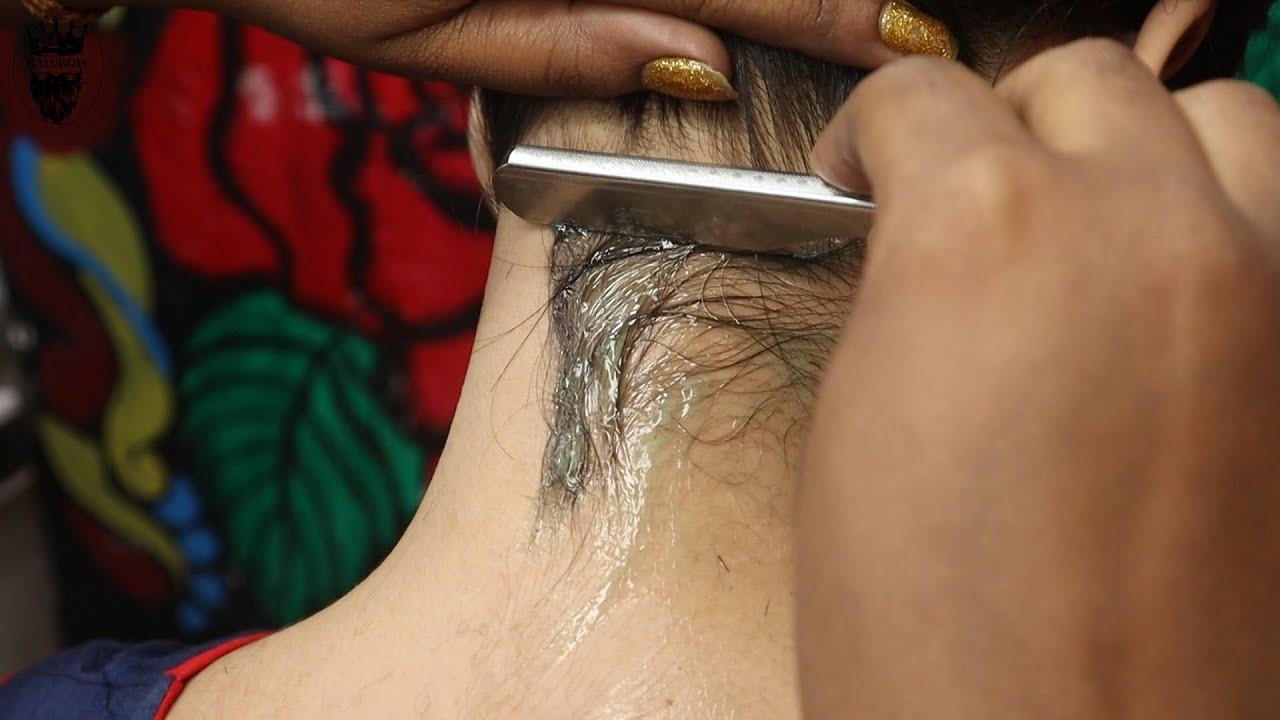 ASMR Straight Razor Nape Shave Indian Girl || Female Barber Shave Asmr