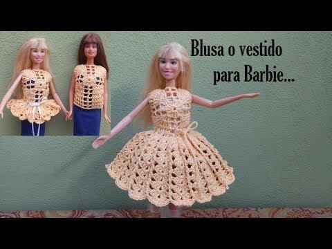 Blusa Y Vestido A Crochet Para Barbie