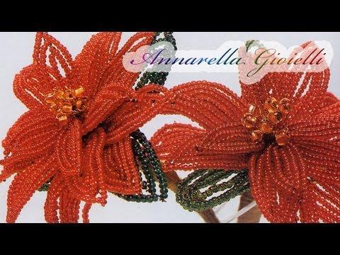 Lavoretti Di Natale Con Perline.Tutorial Stella Di Natale Con Perline Parte 1 2 Poinsettia Bead Tutorial