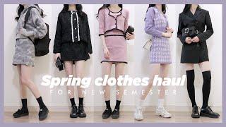 (ENG) 새학기 봄 패션 하울 / 캠퍼스룩, 투피스 위주 Spring clothes haul for new semester   Minjeong Park