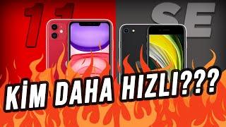 iPhone'lar KAPIŞIYOR!!!   iPhone 11 vs. iPhone SE (2020) HIZ TESTİ