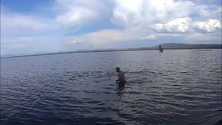 Crazy man goes swimming in Yellowstone Lake