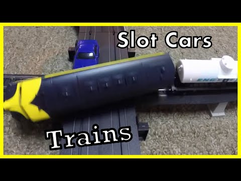 Slot Car and Train Set Life Like High Iron and Burnin Rubber – CRASHES!