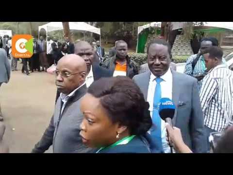 NASA flag bearer Raila Odinga  arrives at Bomas of Kenya