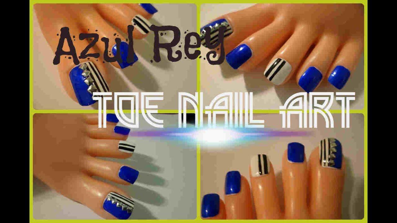 Azul rey Tendencias fáciles Decoración uñas delos pies /Easy toe ...
