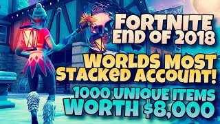 $8,000 Fortnite's most stacked account! 1000+ unique items in Save the World and Battle Royale!
