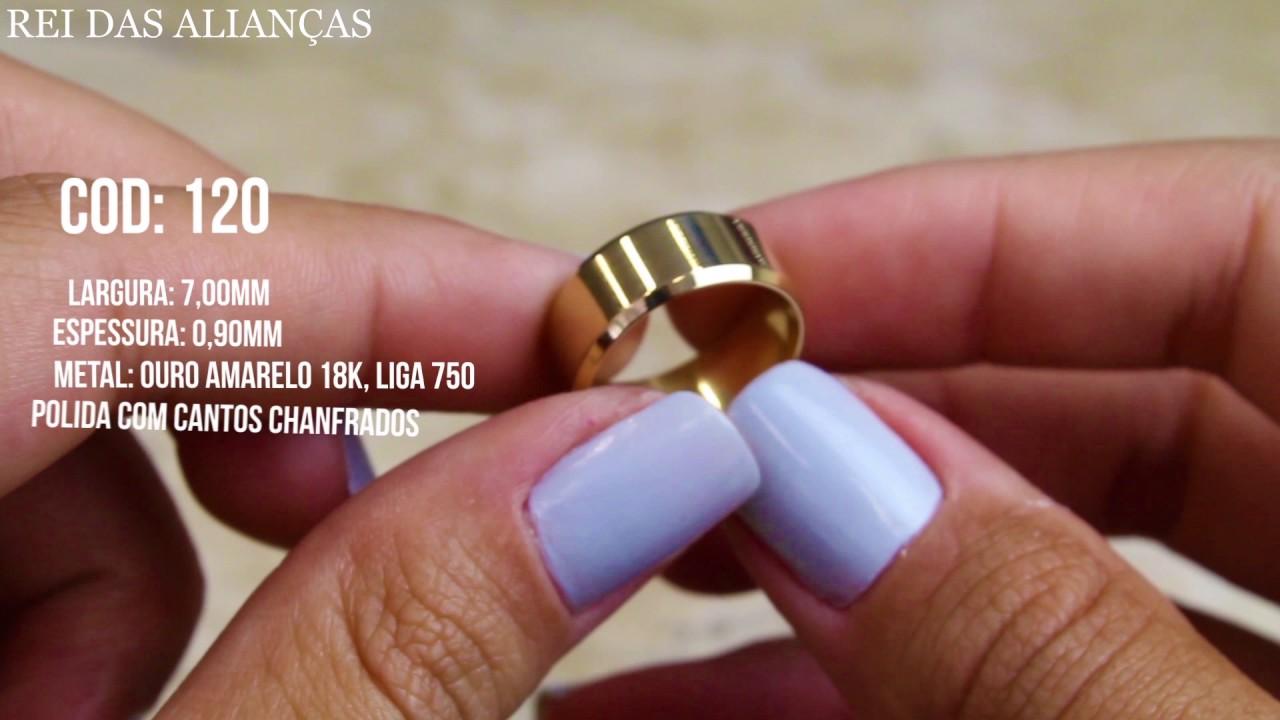 8f7d3605f99 Alianças de Casamento ou Noivado Cód. 120 - Rei das Alianças - YouTube