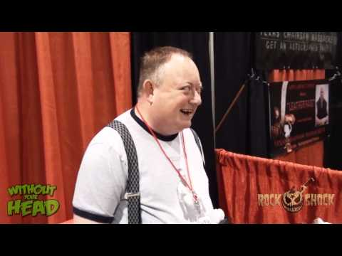 Rock and Shock 2012 Laurence R. Harvey explains Human Centipede 2 to a reporter