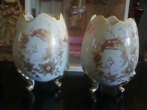 Limoges France French Porcelain Footed Gilt Bird Heiring Egg Vase Pair
