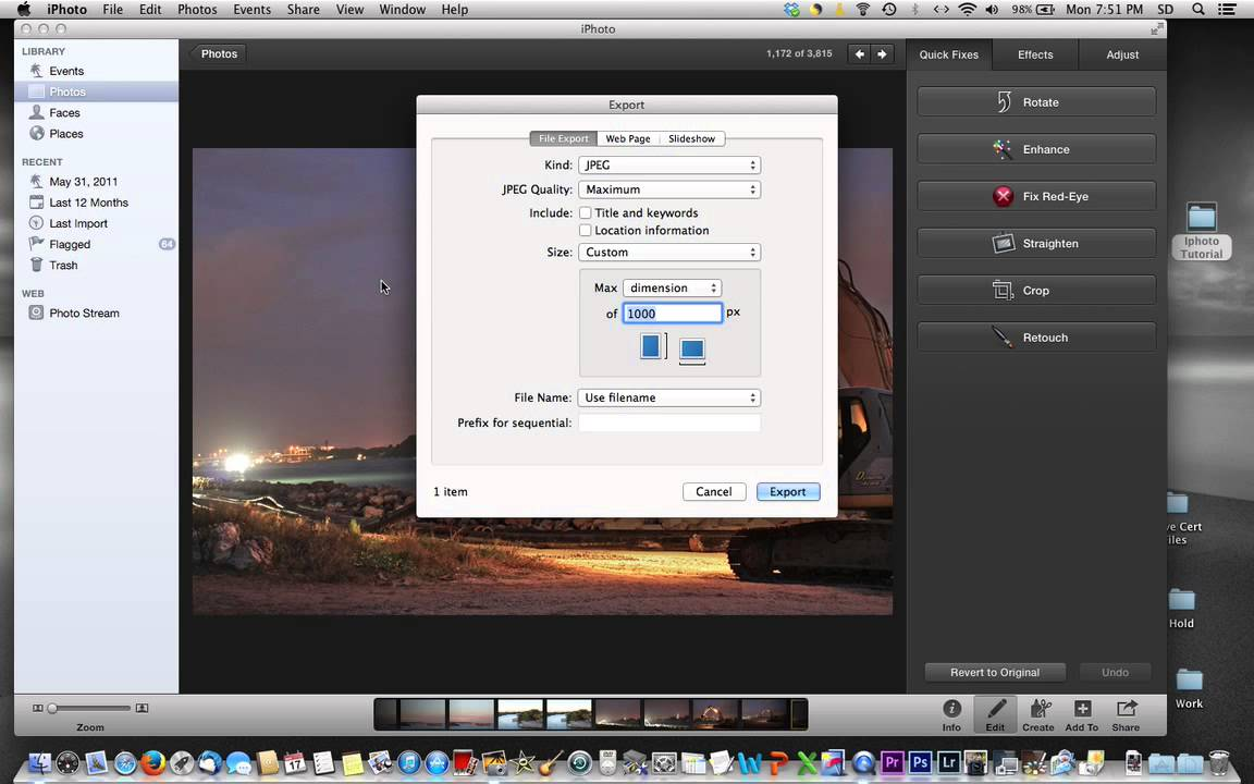 Resize photos how to iphoto in