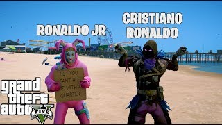 GTA 5 MOD VITA REALE DA BAMBINO #91-RONALDO JR AND CRISTIANO RONALDO GIOCANO A FORTNITE AND SCLERANO!!