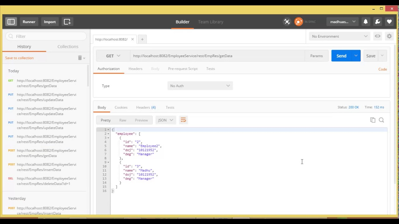 Sending request from postman to Rest services