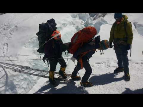 Crossing way by  Ladder on Mount Everest 2017