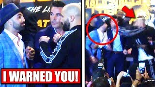 Malignaggi SPITS at Artem Lobov during face off for BKFC6, Nick Diaz on Sage Northcutt loss