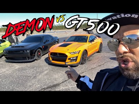 FINALLY DODGE DEMON vs 2020 SHELBY GT500 DRAG RACE! - YouTube