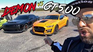 FINALLY DODGE DEMON vs 2020 SHELBY GT500 DRAG RACE!
