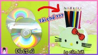 Biến đĩa CD cũ thành LỌ CẮM BÚT HELLO KITTY / Easy DIY Pencil Holder Ideas Ami DIY