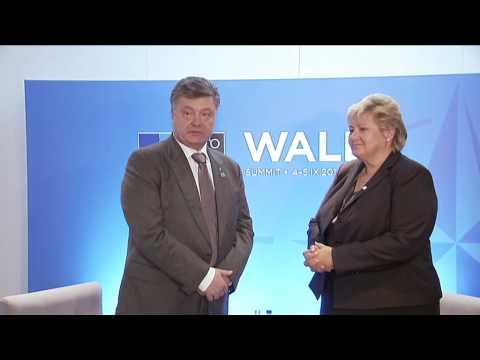 Erna Solberg meets with Petro Poroshenko