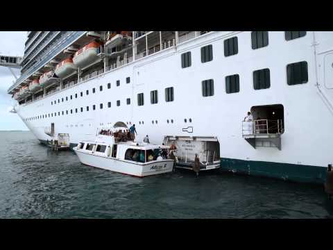 Tender Boat Docking with Cruise Ship Emerald Princess