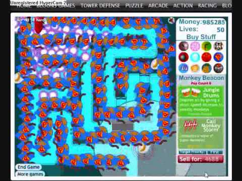 Bloons Tower Defense 3 Hard Levels 1-70 (Level 100 Attempted)