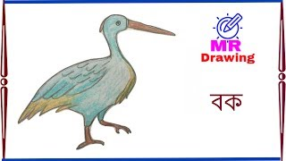 How to Draw A Heron Step by Step    Very easy