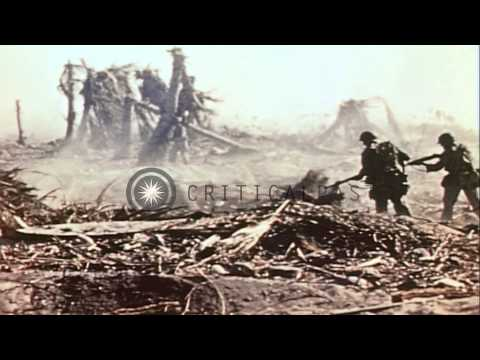 Marines advance on Eniwetok Atoll and care for wounded. HD Stock Footage