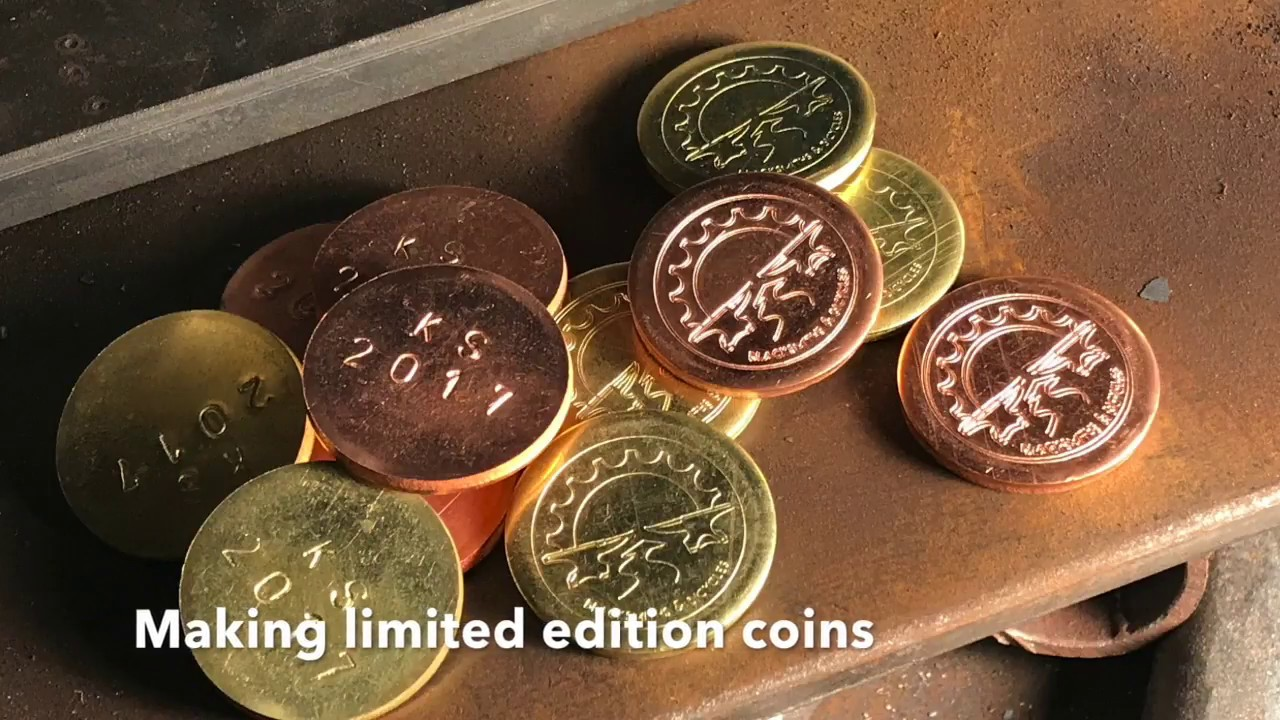 Stamping custom coins with a flypress
