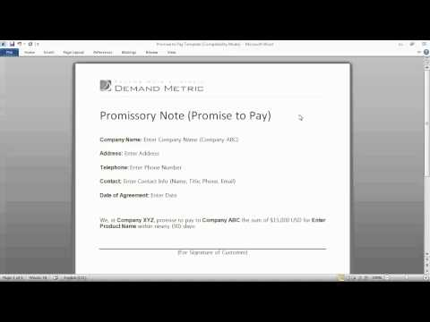 Promise to Pay Form