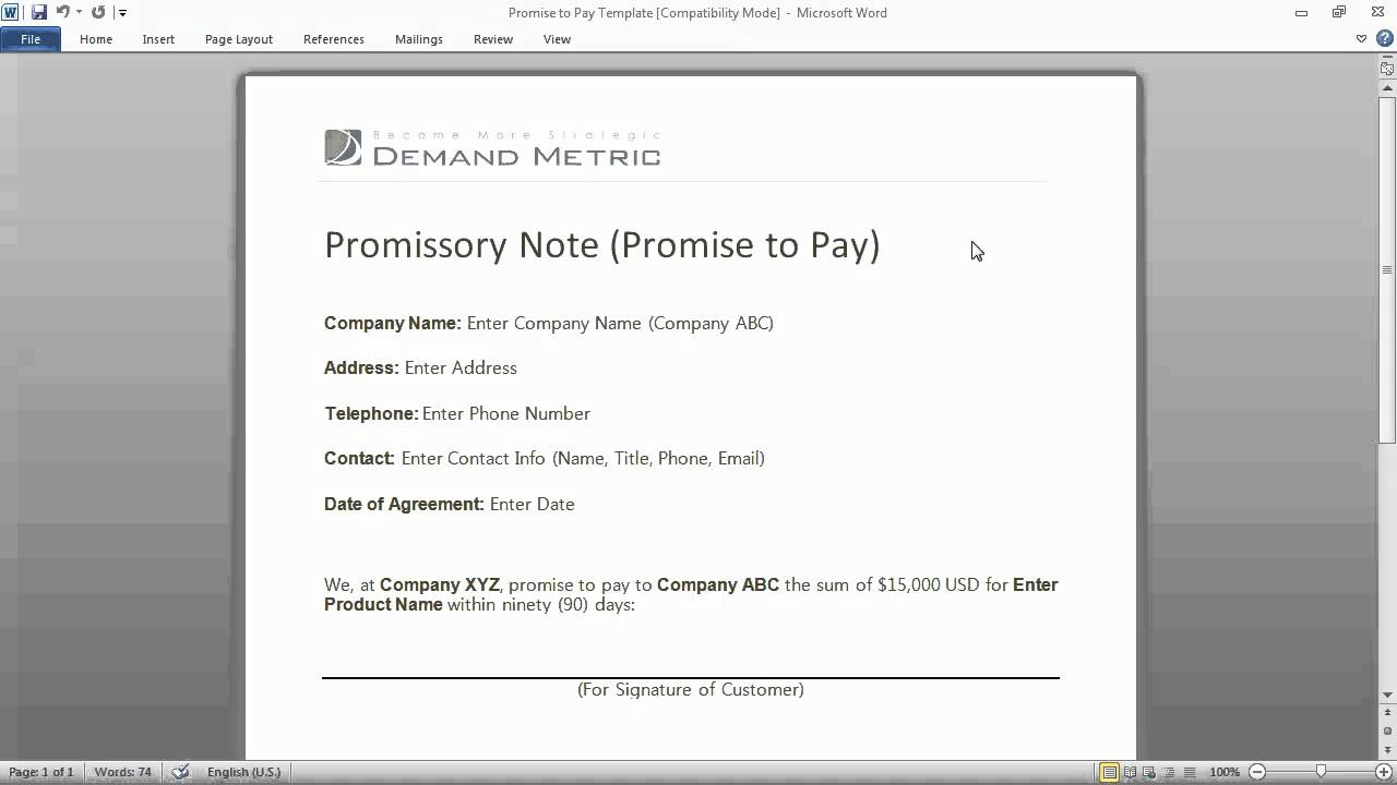 Promise To Pay Form  Promise To Pay Template