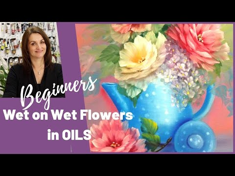 Painting roses in oil wet on wet technique -Polka dot and poses  Full length Tutorial Paint with Maz