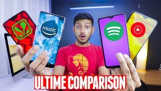 Spotify vs Saavn vs Youtube Music vs Amazon Music | BAWAL COMPARISON ! 🔥🔥🔥