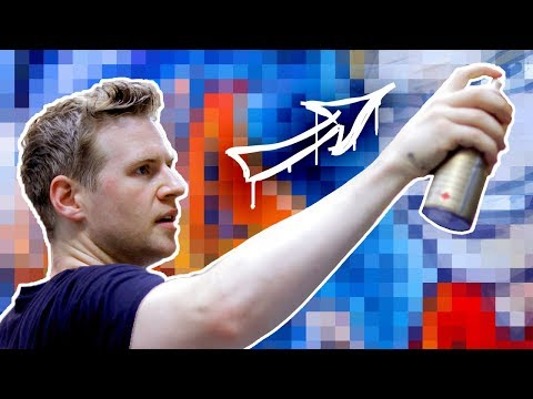 MY FIRST STREET ART!! - Aerosol Painting on a Big City Wall!