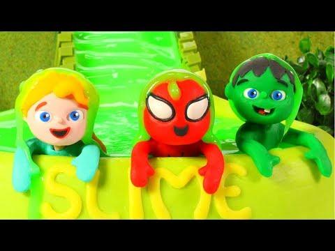 SUPERHERO BABIES TRY A SLIME POOL ❤ SUPERHERO BABIES PLAY DOH CARTOONS FOR KIDS