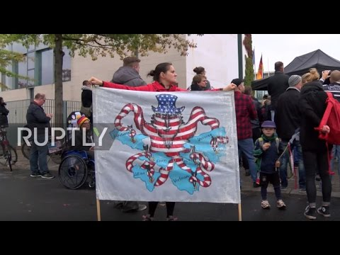 Germany: Hundreds protest against NATO outside the German Chancellery