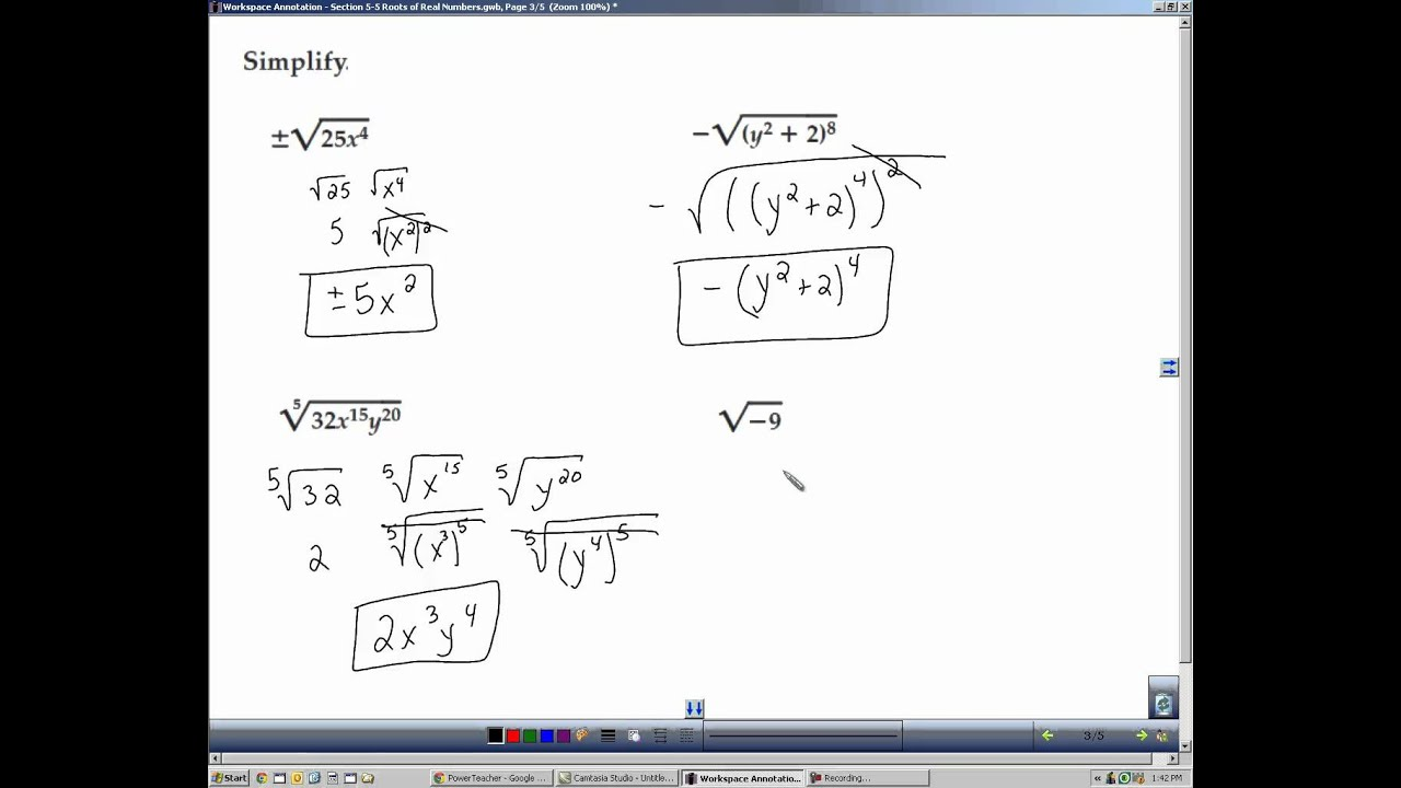 Algebra 2 Section 5 5 Roots Of Real Numbers